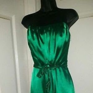 After six green satin  dress